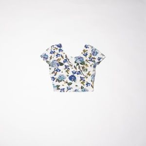 🌸Floral Cropped Ballerina Tee